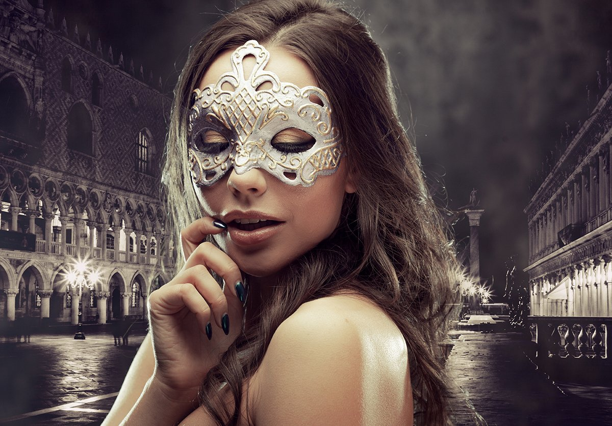 Young and beautiful woman on Venetian view background, gondolas.