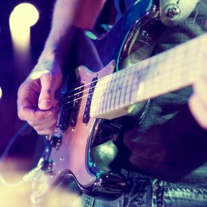 Live music background.Concert and music festival.Instrument on stage and band